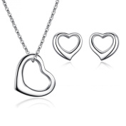 """Sreema London-Women's Girls Love / """"Open Heart""""925 Sterling Silver Pendent Chain(41 - 46 cm) Necklace & Stud Earrings - One Set With Gift Box"""