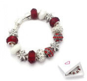 Childrens Christmas Snowflake Silver Charm Bracelet Pandora Style Gift Boxed 17cm
