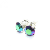 pewterhooter 925 Sterling Silver stud earrings expertly made with Scarabaeus Green crystal from ® for Women