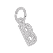 Small Sterling Silver & CZ Crystal Initial Letter Charm A - Z