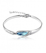 Leyu Fashion Wang Sapphire Blue. Elements Crystal Oval Diamante Teardrop Bracelet Women