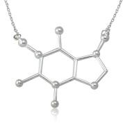 UM Jewellery Cool Alloy Caffeine Molecule Necklace Science Chemistry Pendant,Silver Tone
