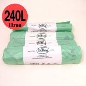 240 Litre x 20 bags Biobag Compostable Wheelie Bin Liner - Biodegradeable Sacks / Liners - EN 13432 - Biobags 240L Bags with Composting Guide