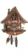 Quartz Cuckoo Clock Black Forest house with moving beer drinker and mill wheel, with music EN 471 QMT