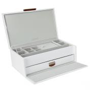 Dulwich Designs Tuscany Medium White Premium Bonded Leather Ladies Jewellery Box