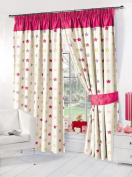 Stars Supersoft Childrens Kids Thermal Pink Stars Blackout Curtains