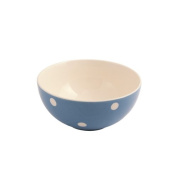 Fairmont and Main High Quality Earthenware Kitchen Spot Coupe Bowls, Set of 4, Blue/Cream