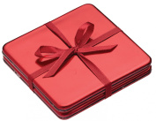 Kitchen Craft 10 x 10 cm Winter Woodland Lacquered Drinks Coasters, Set of 4, Red