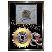 WHITESNAKE - SIGNED FRAMED GOLD VINYL RECORD CD & PHOTO DISPLAY