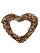 Rustic Twig Wicker Wreath Wired Heart Brown Stick