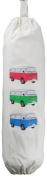 3 VW Bay Camper Van design - Carrier Bag Holder - Natural cotton plastic bag storage