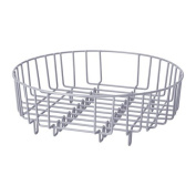 Heavy Duty Steel 37cm Dia Round 2 in 1 Dish Drainer / Rinsing Basket - Silver