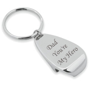 Chrome Keyring and Bottle Opener Dad You're My Hero