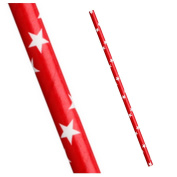 Paper Drinking Straws - Christmas Red With White Star - 25 Pack
