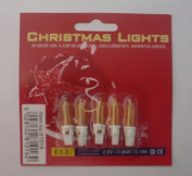 Pack of 5 Yellow Push In Spare Bulbs with Flat White Base 2.5v 0.35w 0.14a (S88