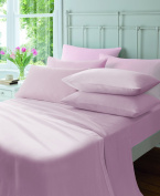 Catherine Lansfield CL Home 145 gsm Plain Dyed Flette Single Fitted Sheet, Pink