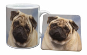 Fawn Pug Dog Mug and Coaster Set Gift, Ref:AD-P1MC