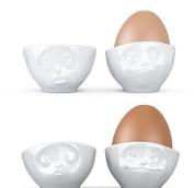 FiftyEight Eierbecherset 4tlg. küssend/verträumt/OchBitte/Lecker T015101+T015201