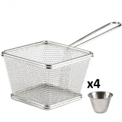 Andrew James 4 Portion Chip Serving Set With Stainless Steel Baskets & Sauce Dip Bowls - 2 Year Warranty