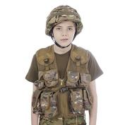 Kids Army All Terrain Camo Combat Vest & Helmet, MTP Latest Camo