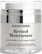 Retinol Cream Moisturiser for Face with 2.5% retinol, hyaluronic acid, jojoba oil, shea butter and green tea. Best night and day moisturising cream 50ml