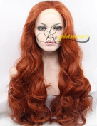 Riglamour Dark Copper Red Long Wavy Wig Heat Resistant Synthetic 100% Fibre Hair Lace Front Wigs Half Hand Tied for Women #350