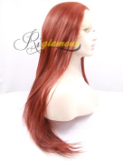 Riglamour Synthetic Lace Front Copper Red Long Straight Hair Wig Heat Resistant 100% Fibre Half Hand Tied for Women
