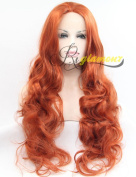 Riglamour Bright Copper Red Wig Long Wavy Heat Resistant Synthetic Lace Front Wigs Half Hand Tied for Women 100% Fibre Hair #360