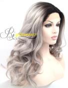 Riglamour Silver Grey Hair Wig Dark Roots Ombre Half Half Hand Tied Lace Front 100% Fibre Synthetic Wavy Wigs Heat Resistant 2 Tones Colour Long
