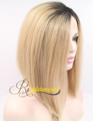 Riglamour Ombre Blonde Bob Wig Dark Roots Straight 2 Tone Short Synthetic Lace Front Wigs Heat Resistant 100% Fibre Hair Half Hand Tied for White Women
