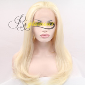 Riglamour Natural Blonde Wig Straight Synthetic Lace Front Wigs for White Women Heat Resistant 100% Fibre Hair Half Hand Tied Free Parting