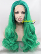 Riglamour Long Green Wig Cosplay Heat Resistant 100% Fibre Hair Synthetic Lace Front Wigs for Women Half Hand Tied Body Wave