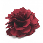 Meilliwish Camellias Flower Hair Clip and Brooch Pin(DarkRed)