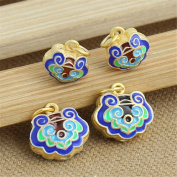 Luoyi 1pc Golden Plated Sterling Silver Enamel Large Hole Dangle Beads, Lock Cloisonne Pendant, Hole