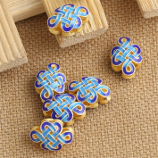 Luoyi 2pcs Golden Plated Sterling Silver Flat Beads, Chinese Knot Cloisonne Spacer Beads, 13*9mm, Hole