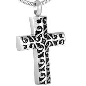 ZARABE Cremation Jewellery Vintage Cross Stainless Steel Memorial Urn Necklace Keepsake Ash Holder
