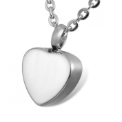 HOUSWEETY Double-face Glossy Love Heart Charm Keepsake Necklace-Urn Pendant-Stainless Steel Memorial Jewellery