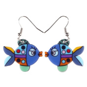 Cute Bonsny Goldfish Acrylic Earrings-1 Pair Blue