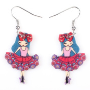 Cute Bonsny Angel Girls Acrylic Earrings-1 Pair Red