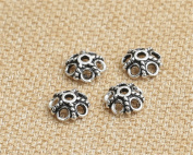 Luoyi Antique Silver Flower Bead Caps, 5-petal, 7mm, Hole