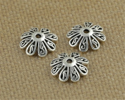 Luoyi Antique Silver Flower Bead Caps, 8-petal, 10mm, Hole