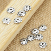Luoyi Thai Silver Bead Flower Caps, 5mm, Hole
