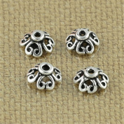 Luoyi Tibetan Style Hollow Clover Bead Caps, 6mm