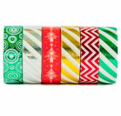 6 Rolls of Holiday Themed Coloured Decorative Washi Masking Tape - For Holiday Decoration - Christmas Tree, Stripe, Star, Silver, Green, Red, Gold - (15mm x 10m) - By Washi.Design