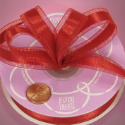 1cm X 25YD RED SATIN centre SHEER RIBBON