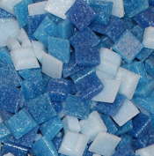 Hakatai Glass Mosaic Tile 1cm - ½ Pound Cyan Blue Blend Assortment