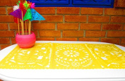 Mexican Wedding Decoration, Yellow Table Runner, Papel Picado, Fiesta Party, Mexican Style Ceremony, Tissue Paper, Hand-crafted, Birthday Party Kids