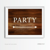 Andaz Press Wedding Party Directional Signs, Rustic Wood Print, 22cm x 28cm , Double-Sided, Party with Big Arrow, 1-Pack