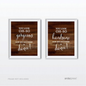 Andaz Press Wedding Party Signs, Rustic Wood Print, 22cm x 28cm , You Look Oh So Gorgeous Handsome, Now Get Out and Dance Mens Womens Bathroom Restroom Signs, 2-Pack