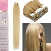 haibis Hair Extensions Tape in Remy Human Hair 20pcs More Colours 41cm - 60cm